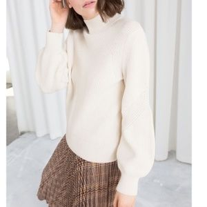 & Other Stories Paris Atelier Cream Ribbed Sweater